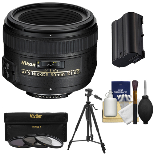 Nikon 50mm f/1.4G AF-S Nikkor Lens with EN-EL15 Battery + 3 UV/CPL/ND8 Filters + Tripod + Kit for Nikon D7100, D7200, D610, D750, D800 & D810 Camera