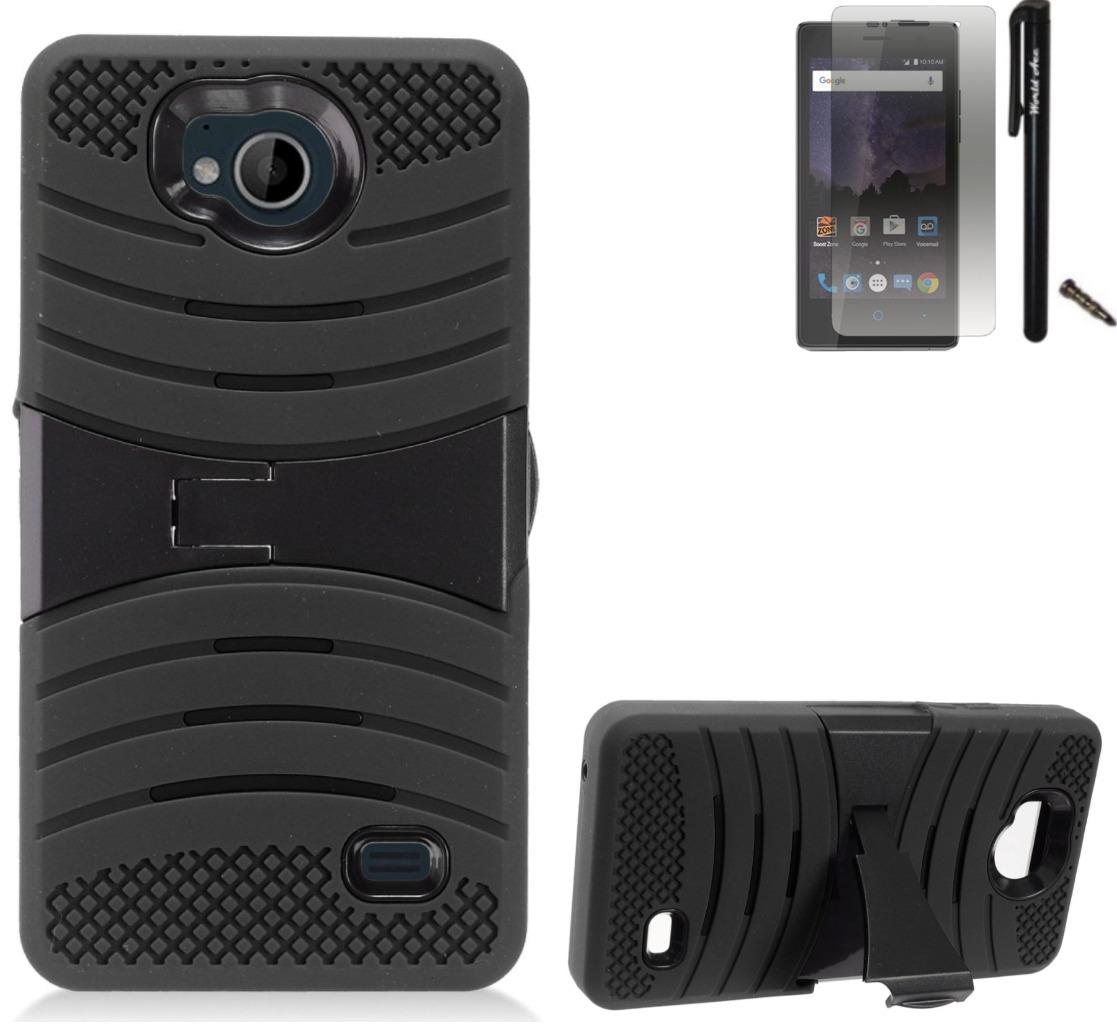 For ZTE Tempo N9131 Case / ZTE Majesty Pro LTE Case Symbiosis Armor Hybrid Silicone Phone Cover Plastic w/ Curve Stand Combo Pack (Black/Black)