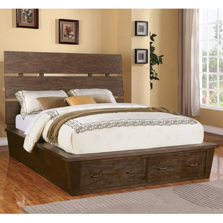Riverside Promenade Slat Panel Bed with Storage - Warm Cocoa