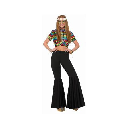 Halloween Costume Door Old Ladies (Womens Black Bell Bottom Pants Halloween)