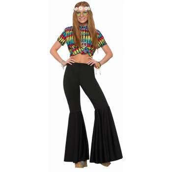 Womens Black Bell Bottom Pants Halloween Costume (Stretchy Bell Bottom Pants)