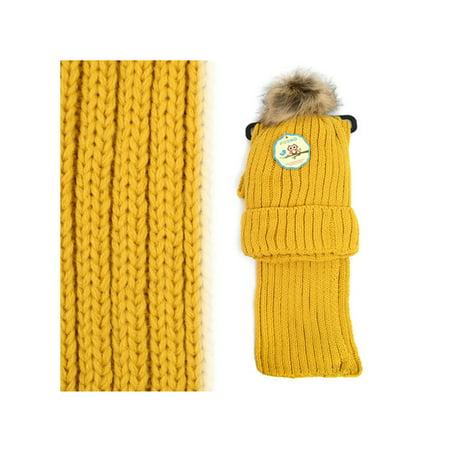 Kids Winter Knitted Fur Pom Beanie Hat Scarf Set for boys and girls (Gold-sonnenbrillen Für Männer)