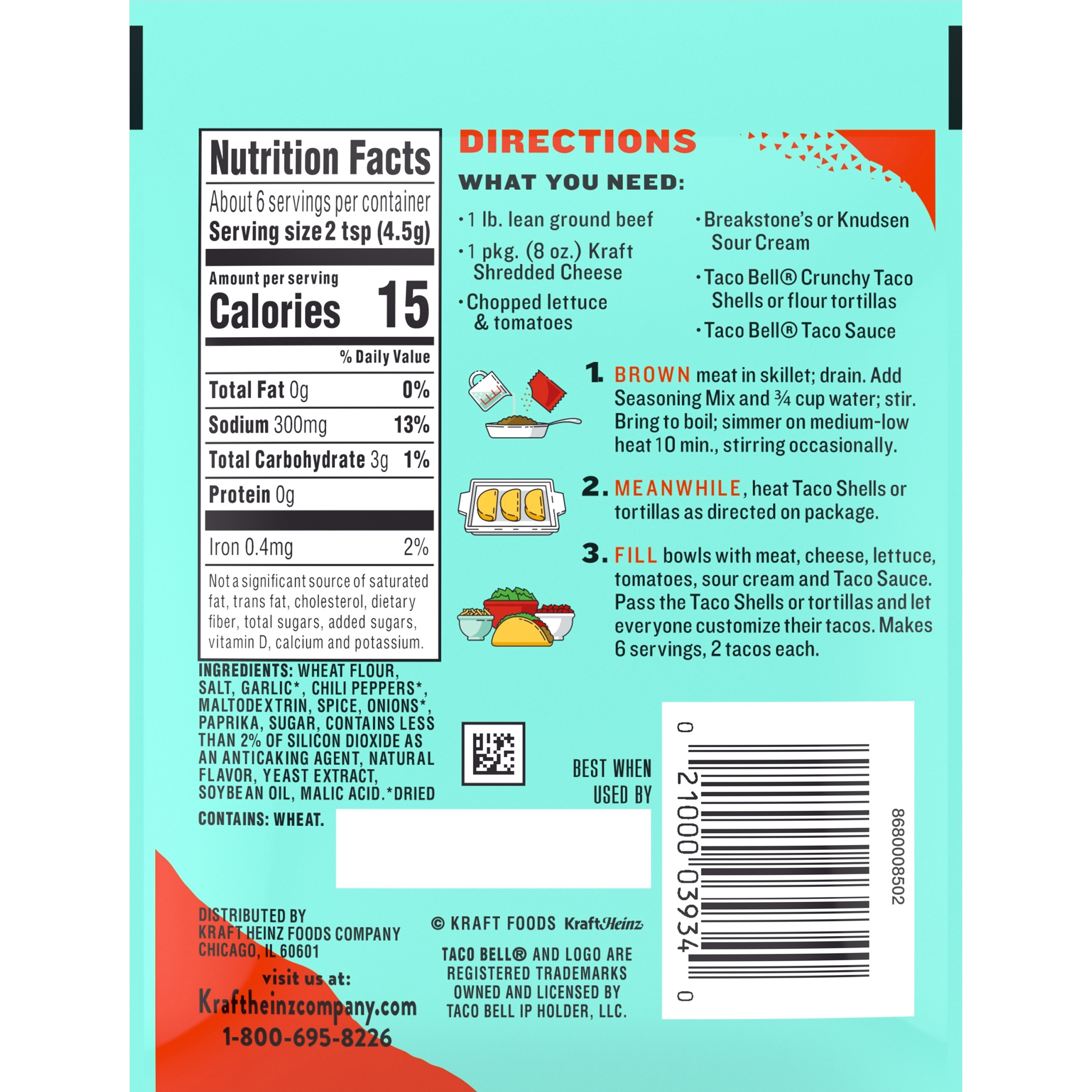 Kroger Taco Seasoning Nutrition Facts Nutritionwalls