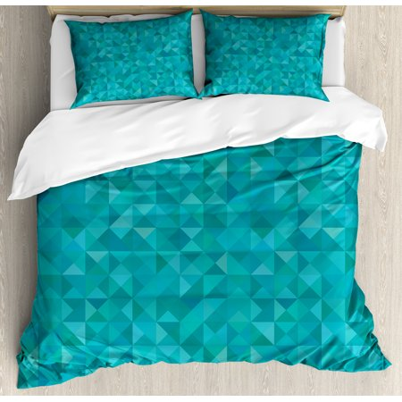 Teal King Size Duvet Cover Set Geometrical Shapes Triangles Squares - Geometrical-shapes-on-bedding