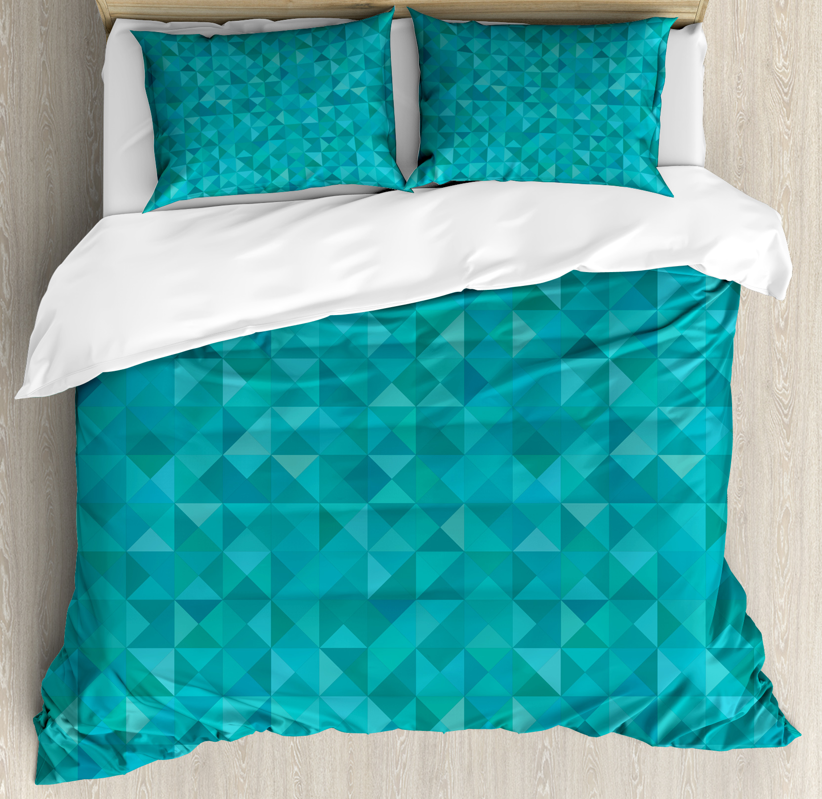 Captivating Teal King Size Duvet Cover Set, Geometrical Shapes Triangles Squares Modern  Abstract Art Different Shades Ideas
