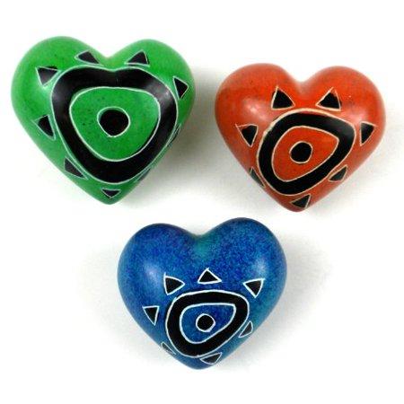 Set of Three Handcrafted Mini Soapstone Hearts