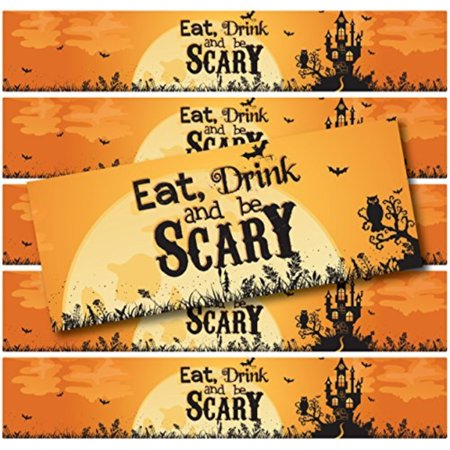 24 Halloween Water Bottle Labels | WATERPROOF | (Eat Drink & Be Scary Haunted - Scary Halloween Labels For Bottles