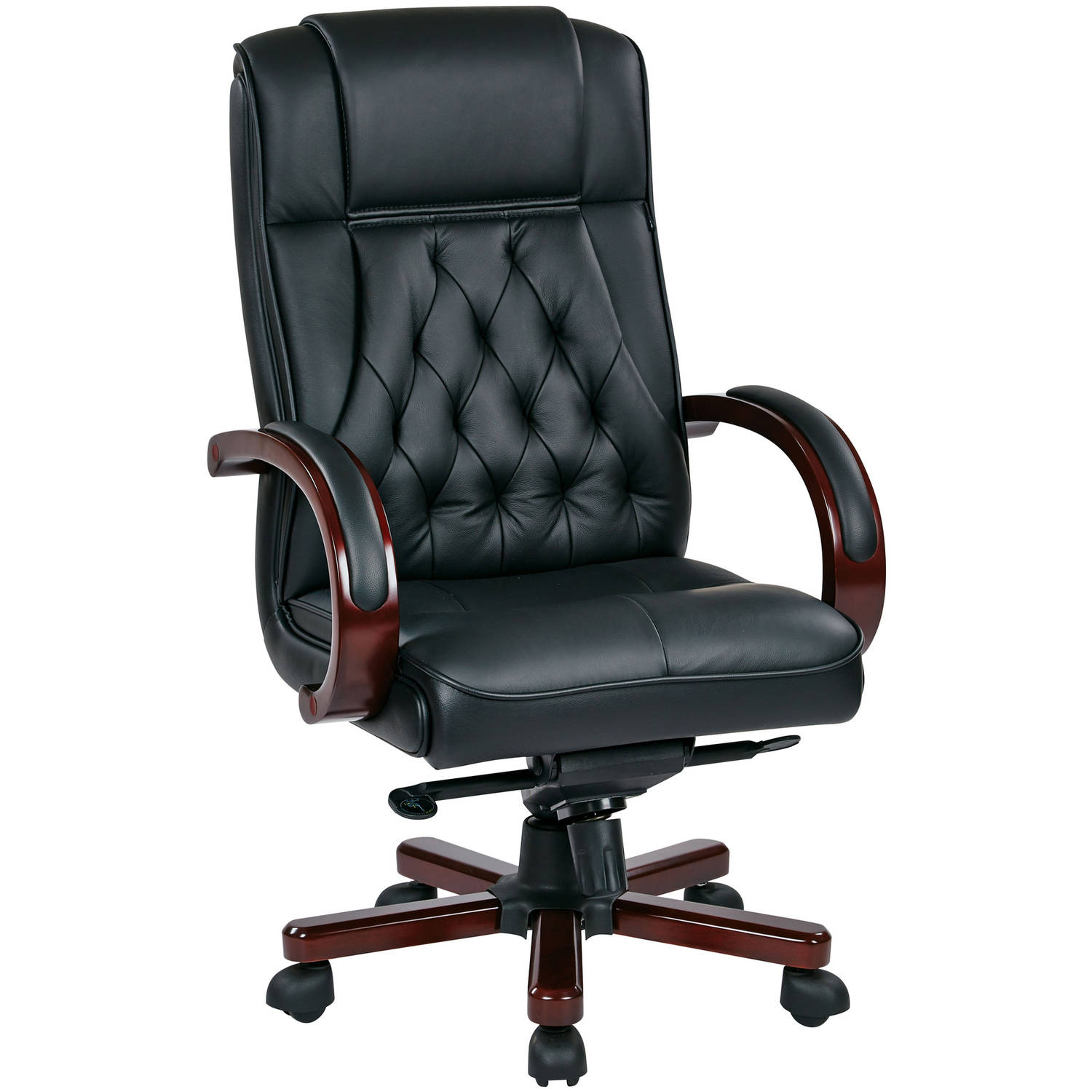 Leather Executive Chair with Royal Cherry Base and Dual Wheel Carpet Casters