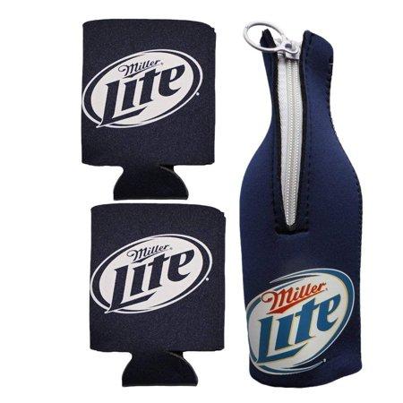 Giants Zipper Bottle Suit - Miller Lite Zipper Bottle Suit & Can Koozies (Miller Lite Blue Bottle Suit & 2 Miller Lite Blue Can Koozies)