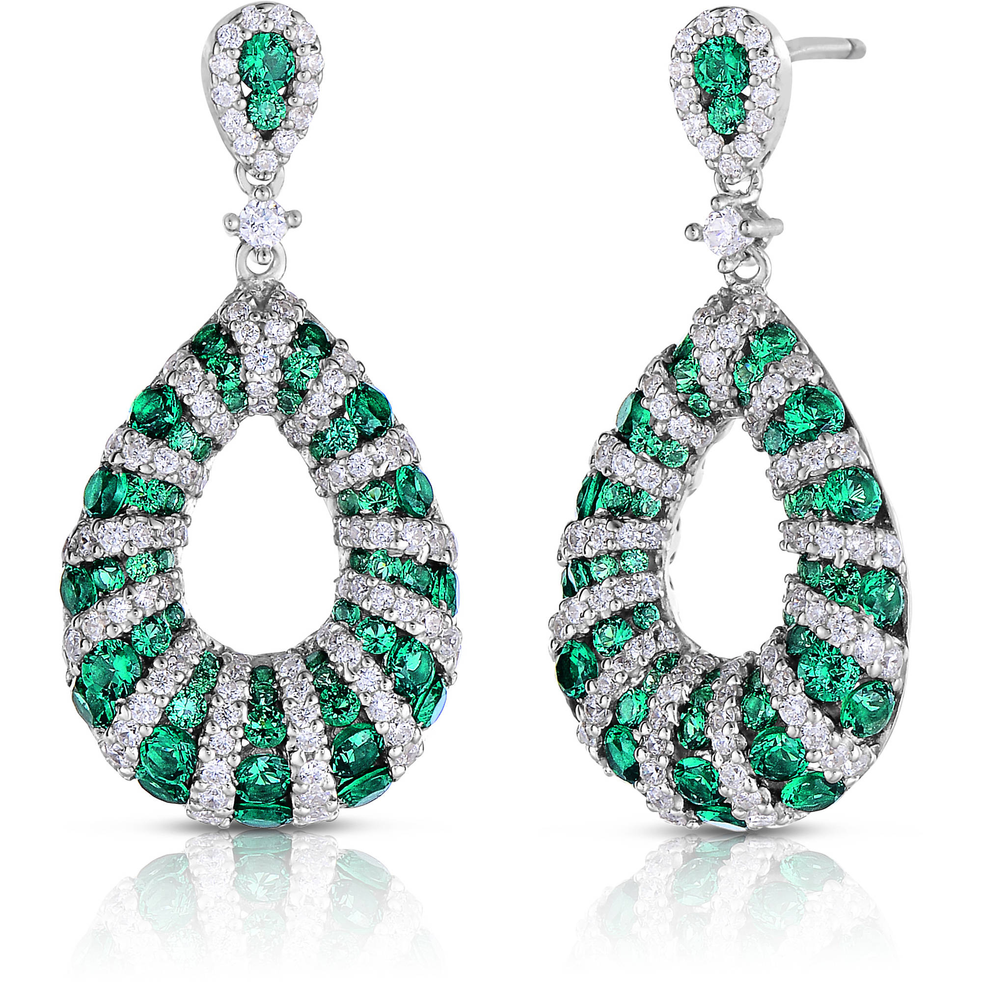 Green and White CZ Sterling Silver Earrings