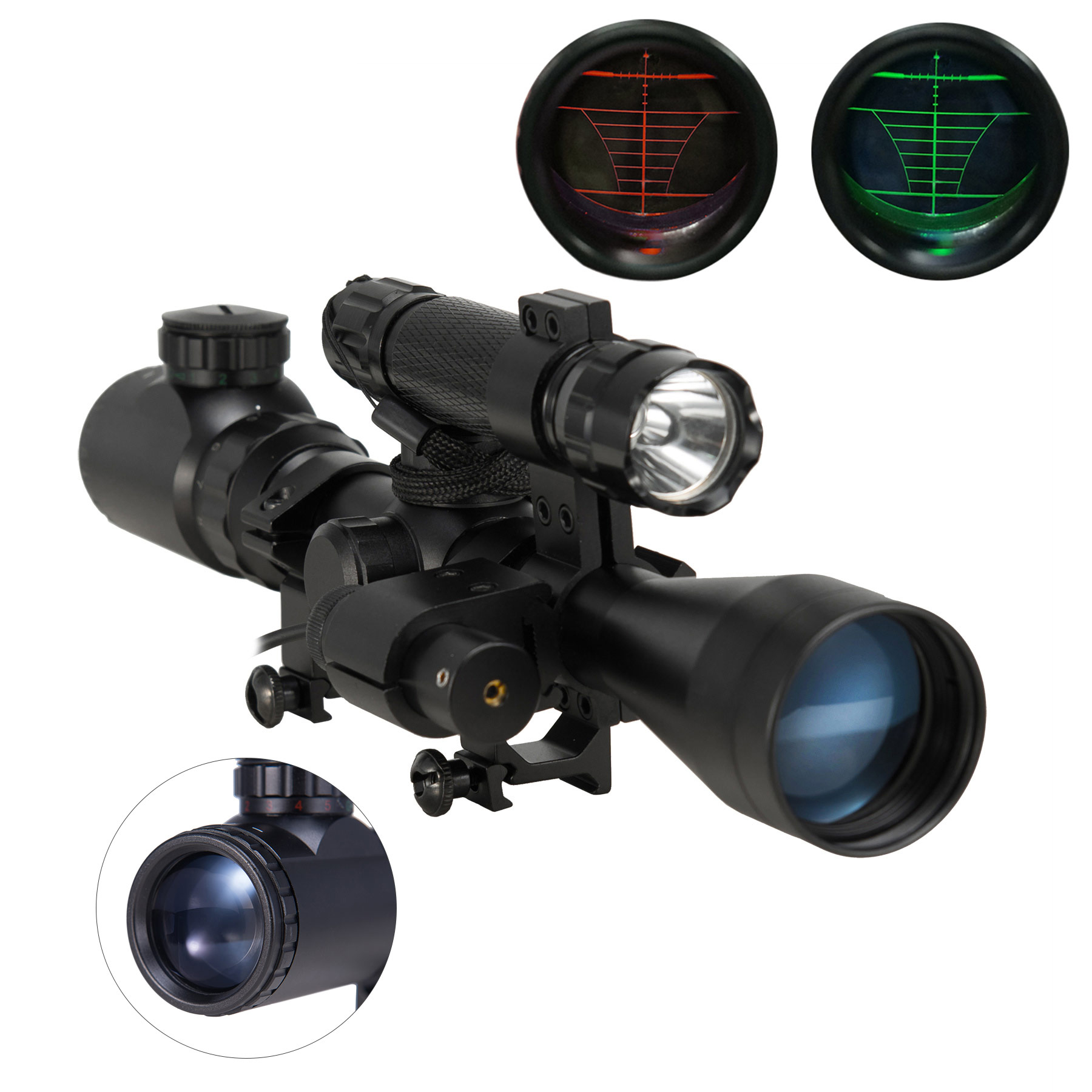 Pinty 3 in 1 Tactical 3-9X40 Red Green Mil-Dot Illumination Reticle Riflescope Scope Combo with Laser Sight and Torch for Hunting