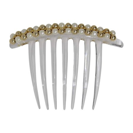 French Twist Comb - Embellished with Pearl, Platinum, and Gold Beads