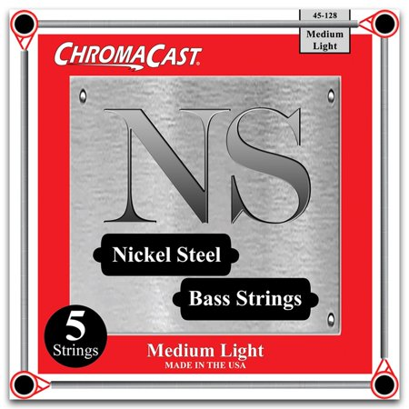 ChromaCast Nickel Steel 5-String Bass Guitar Strings, Medium Light Gauge(45-128)