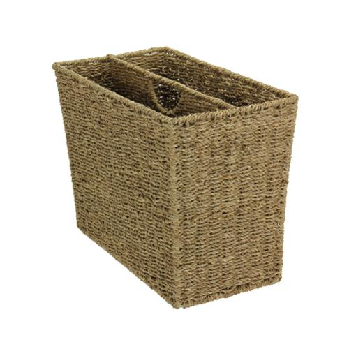 Household Essentials Two-compartment Seagrass Wicker Magazine Rack by Overstock