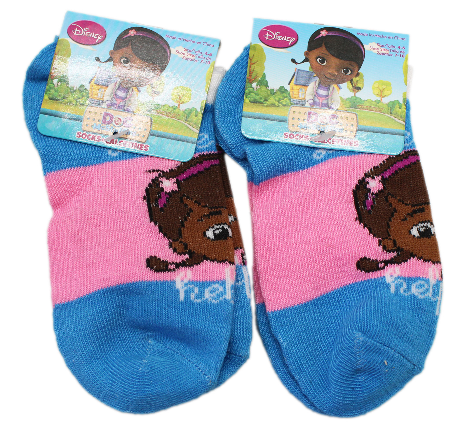 Disney's Doc McStuffins Pink/Blue Colored Kids Socks (Size 4-6, 2 Pairs)