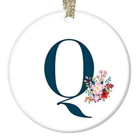 Q Ornament, Letter Q Name Q Initial Christmas Porcelain Ornament, 3