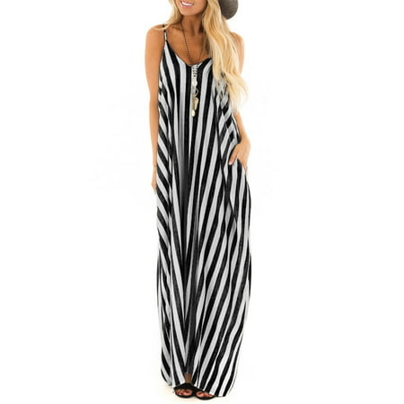 Summer Holiday Women Strappy Cami Striped Long Boho Dress Ladies Beach Maxi