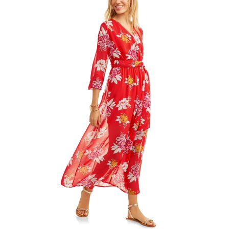 270f165ca2b Juniors  Floral Chiffon Faux-Wrap Maxi Dress - Walmart.com