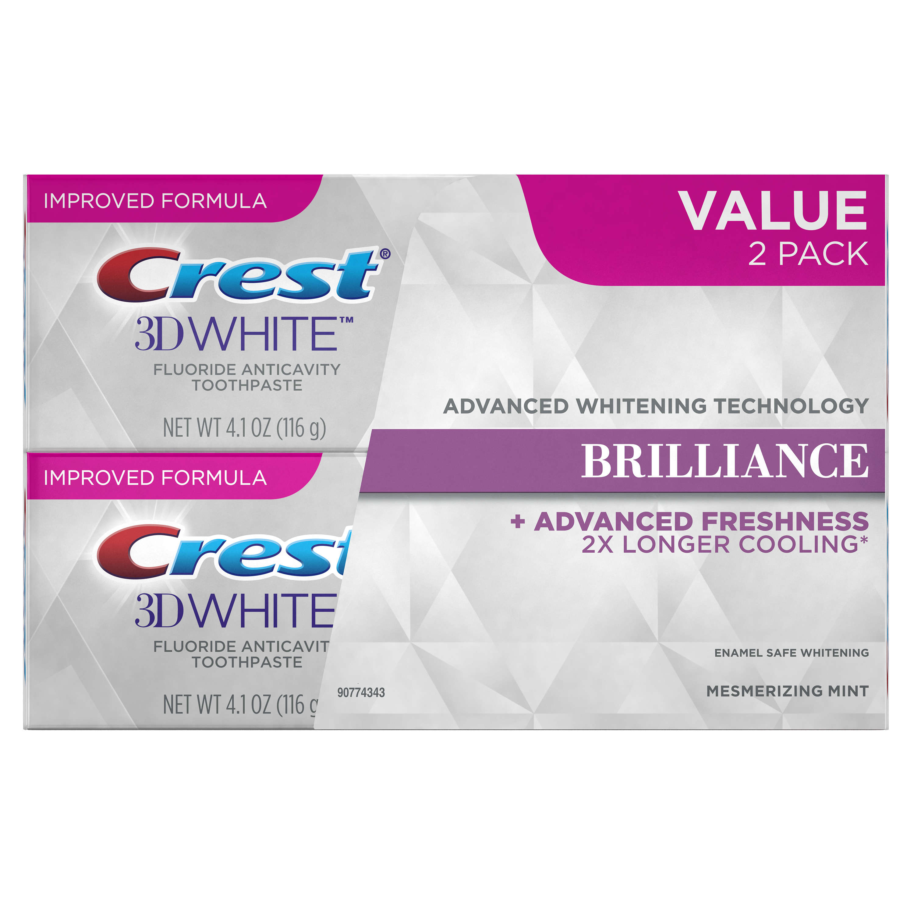 Crest 3D White Brilliance Mesmerizing Mint Toothpaste, 4.1 oz (Choose Count)