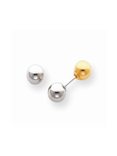 14k Two Tone Gold Childs Reversible 5mm Ball Earrings w//Gift Box