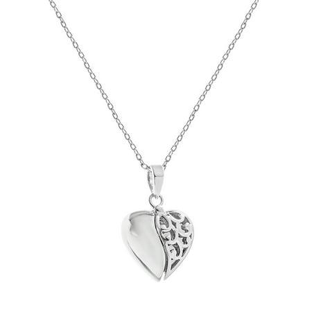 Filigree Heart with Hidden I Love You Disc Locket - Cheap Locket Necklace