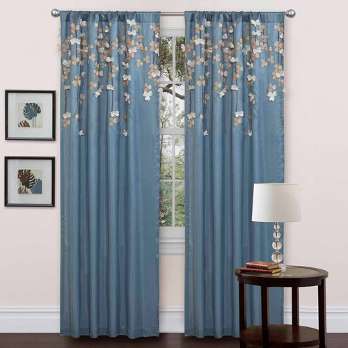 Flower Drops Blue Window Curtain