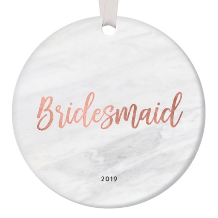Bridesmaid Proposal Ornament Christmas 2019 Will You Be Team Bride Asking Sister Best Friend Gift Idea Bridal Shower Wedding Favors Rose Gold Marble 3