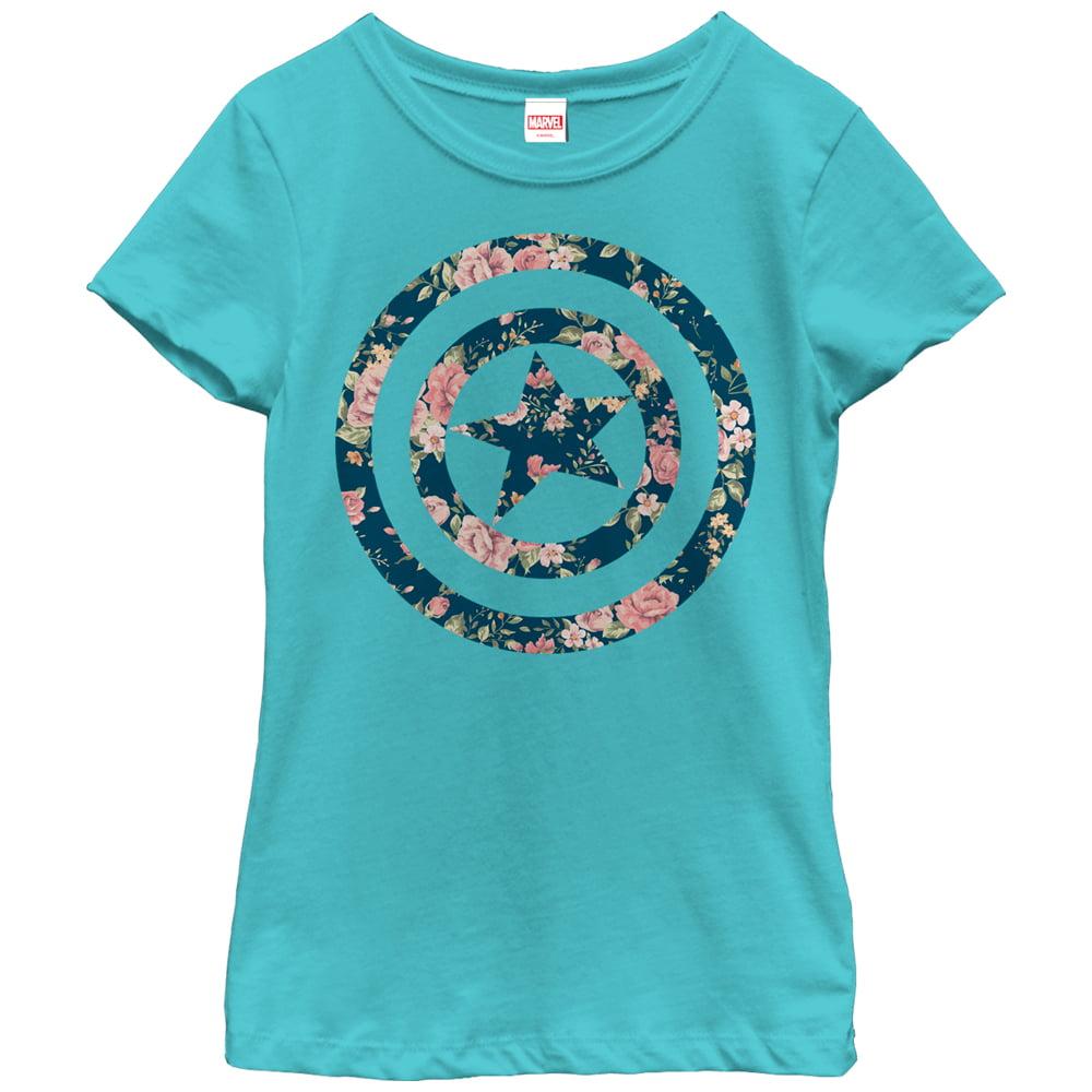 Marvel Girls' Captain America Floral Print T-Shirt