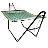 Sunnydaze Double Quilted Fabric Hammock with Multi-Use Universal Steel Stand, Blue and Green Striped, 2-Person, 450 Pound Capacity