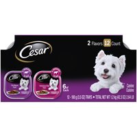 (12 Pack) CESAR Wet Dog Food Classic Loaf in Sauce Filet Mignon and Porterhouse Steak Flavors Variety Pack, 3.5 oz. Easy Peel Trays