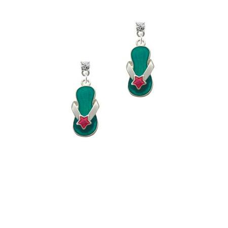 Austrian Crystal Flip Flop - Silvertone Tropical Blue Flip Flop with Pink Star Clear Crystal Post Earrings