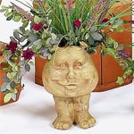 Homestyles Antique White Sister Suzy Q the Muggly Face Humorous Statue Planter Pot ()