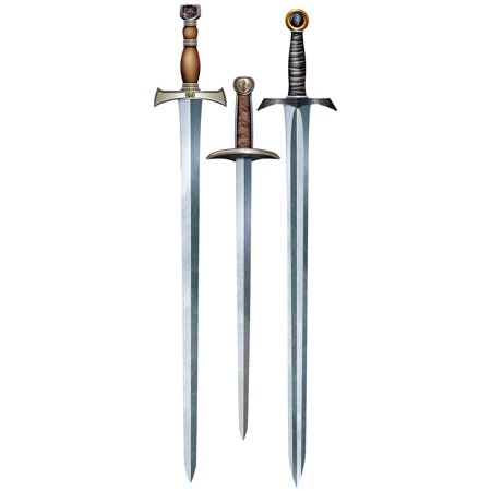 Club Pack of 36 Silver Medieval Times Themed Sword Cutout Decorations 34.5