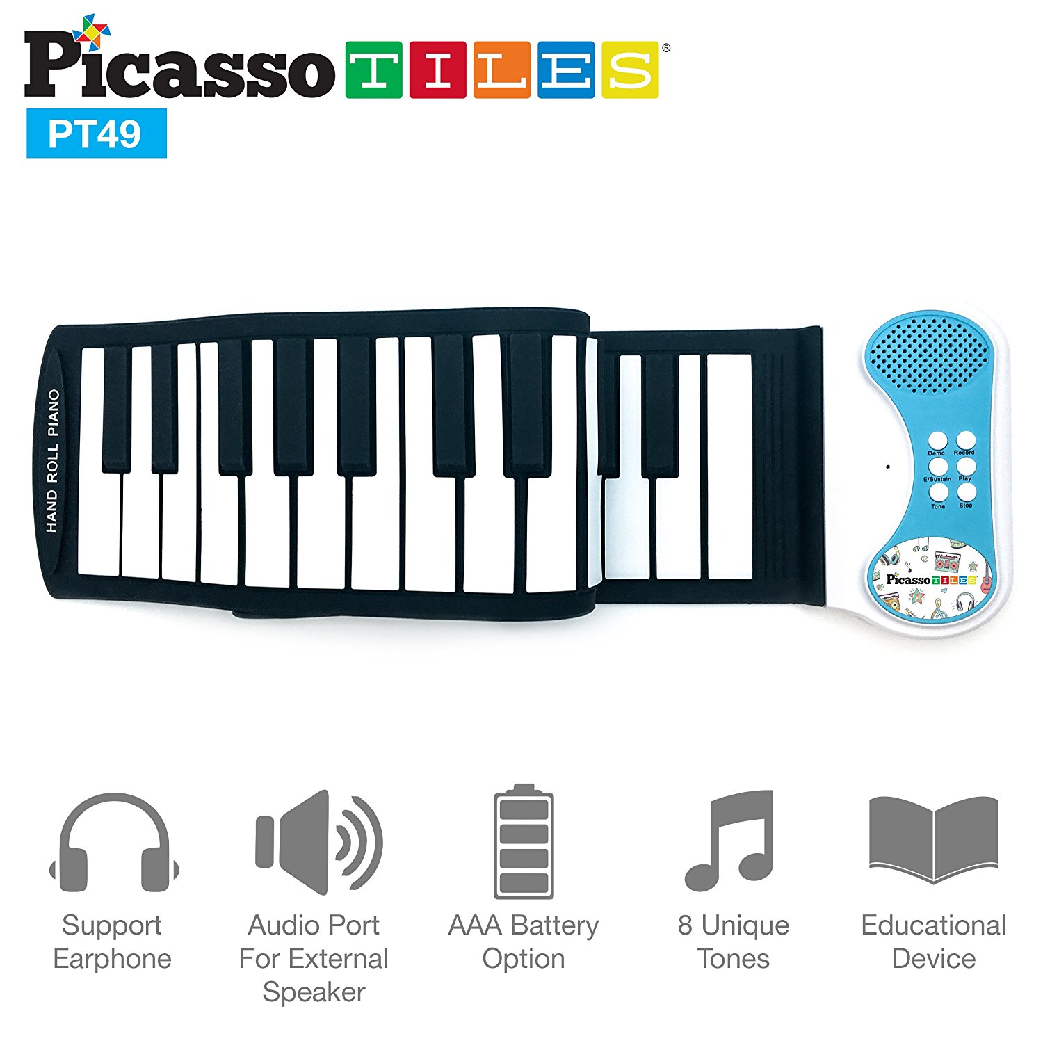 PicassoTiles PT49 Kid's 49-Keys Flexible Roll-Up Educational Piano Keyboard
