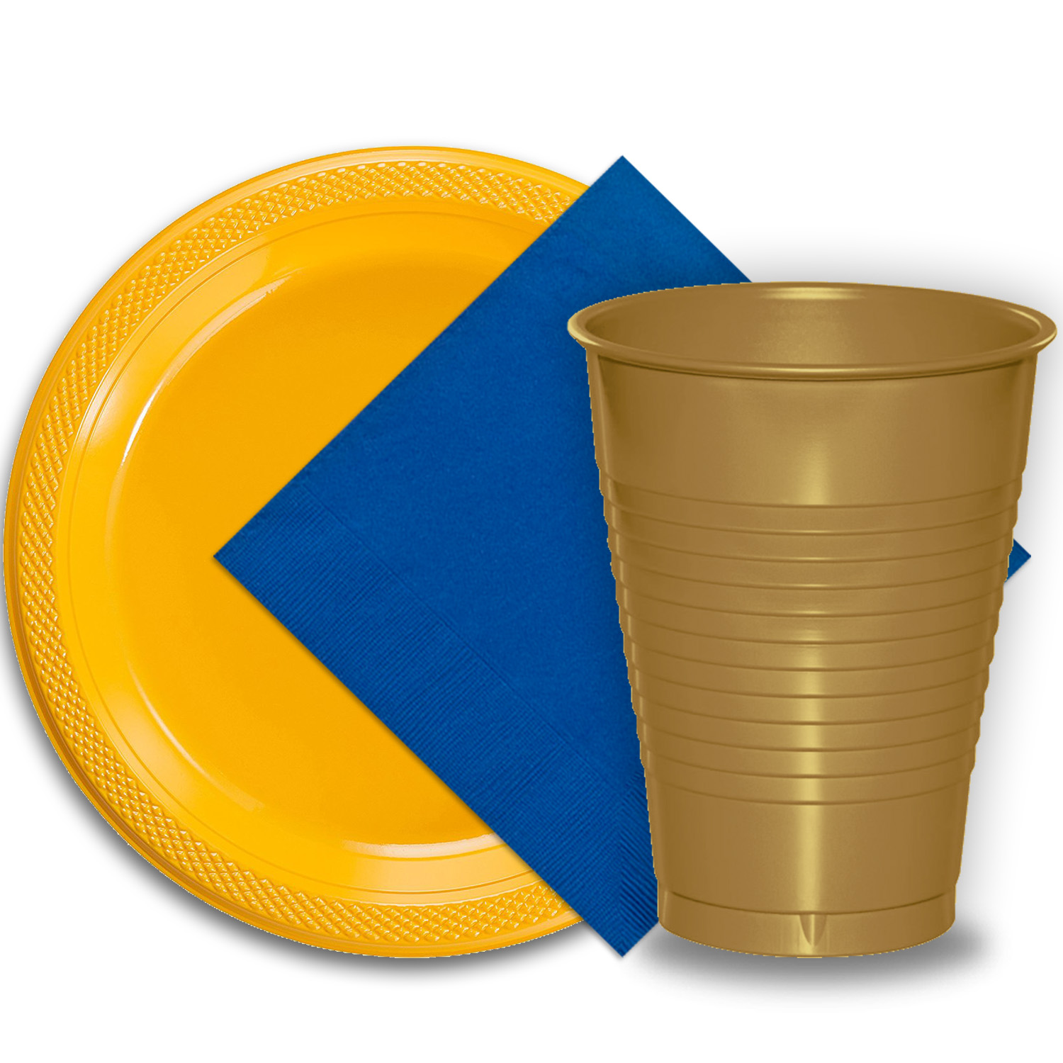 "50 Yellow Plastic Plates (9""), 50 Gold Plastic Cups (12 oz.), and 50 Dark Blue Paper Napkins, Dazzelling Colored Disposable Party Supplies Tableware Set for Fifty Guests."