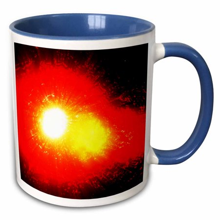 3dRose Solar Flare abstract rendition of a solar flare being emitted in space from the Sun - Two Tone Blue Mug, 11-ounce