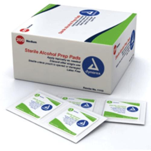 Dynarex Alcohol Prep Pads (Swabs) Sterile, Medium 200 ea (Pack of 2)