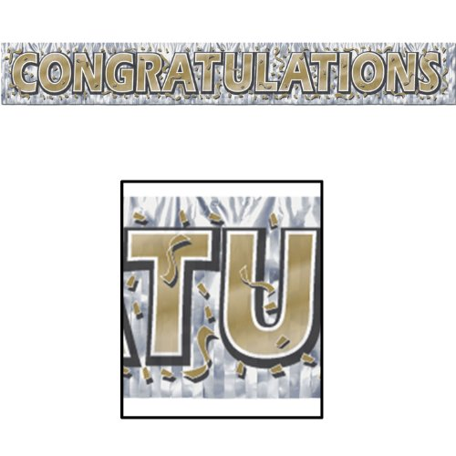 Metallic Congratulations Fringe Banner 5 Foot (Gold, Silver, Black) Single (1) Sign