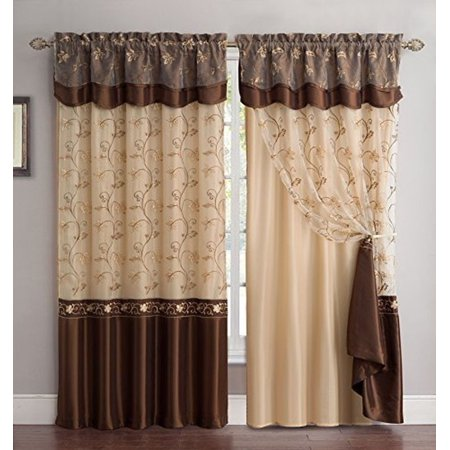 Fancy Linen Embroidery 2 Panel Curtain Set 55 X 63 With Backing Valance Brown New