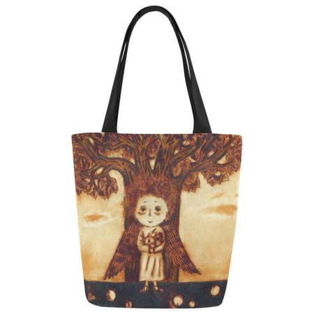 ASHLEIGH Angel Vintage Style Canvas Tote Bag Shoulder Handbag Grocery Bag for School Shopping Travel