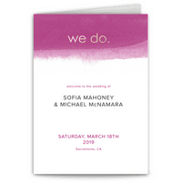 Personalized Wedding Program - We Do - 5 x 7 Folded