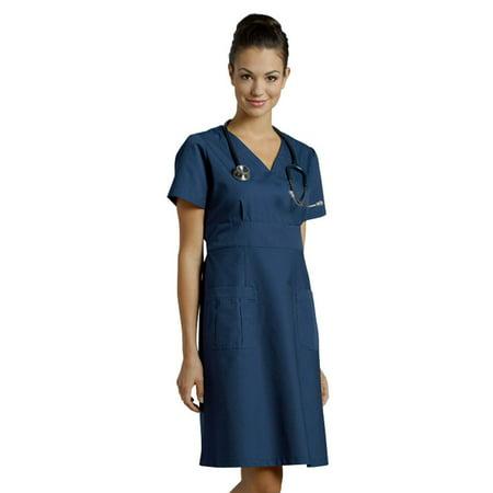Mock Wrap Jersey Dress - White Cross Mock Wrap Nurse Dress