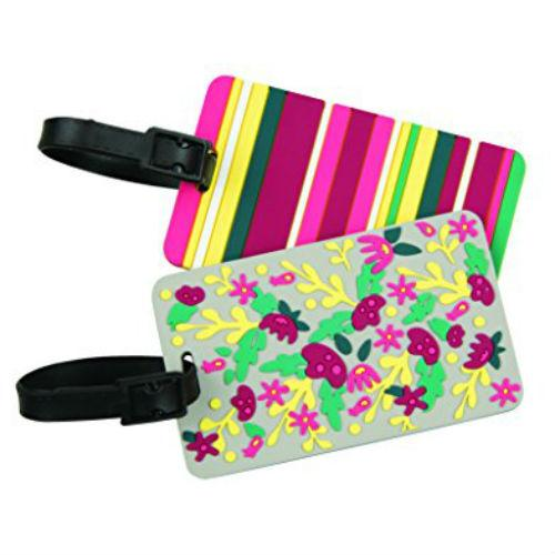 Travelon Set of 2 Luggage Tags-Floral/Stripe Set of 2 Luggage Tags