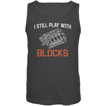 Auto Racing I Still Play With Blocks Mens Tank Top Charcoal SM Racing Fiddle Blocks
