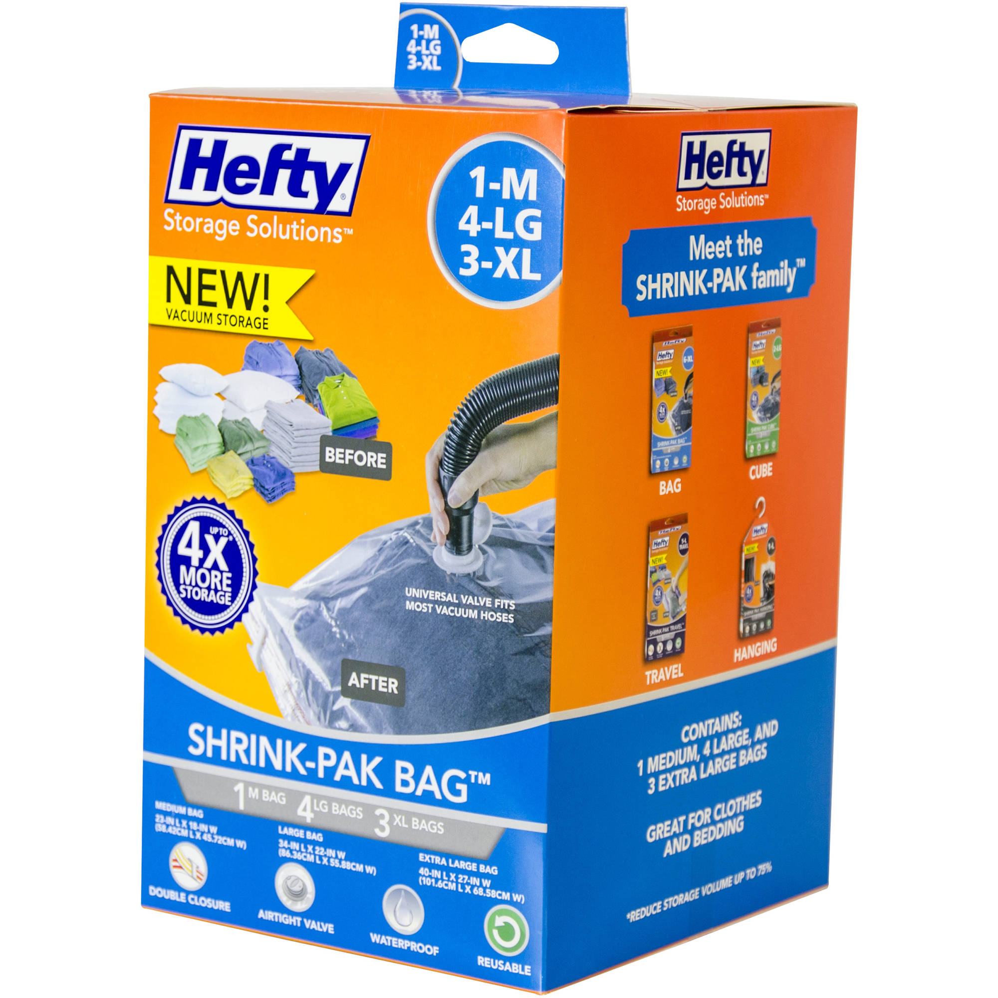 Hefty Shrink-Pak Vacuum Seal Bags, 1 Medium, 4 Large and 3 X-Large Bags