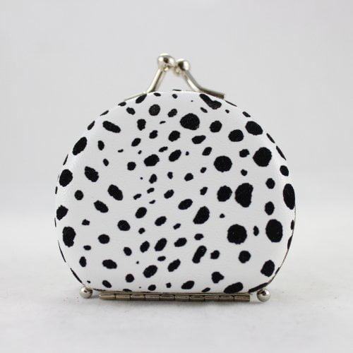 Round Leopard Print Jewelry Travel Case - White - 2.6L x 2.2W in.