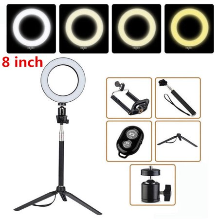 8inch Photography Dimmable LED Selfie Ring Light Youtube Video Live 3500-5500k Photo Studio Light With Phone Holder USB Plug