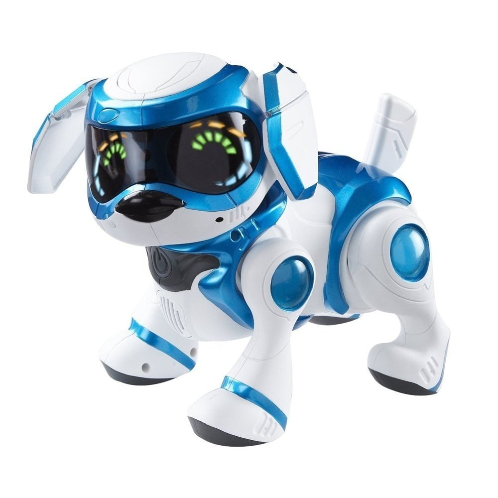 Tekno  White/Blue Robotic Puppy with Bone and Ball