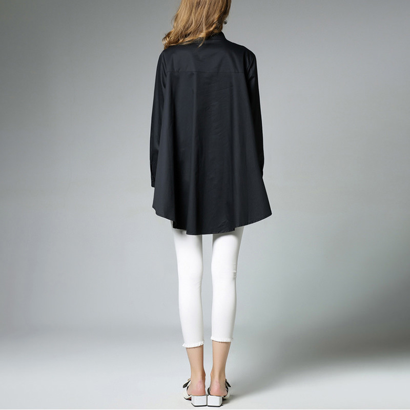 Stand Collar Long Sleeve Patchwork Split Asymmetrical Blouse - image 2 of 5
