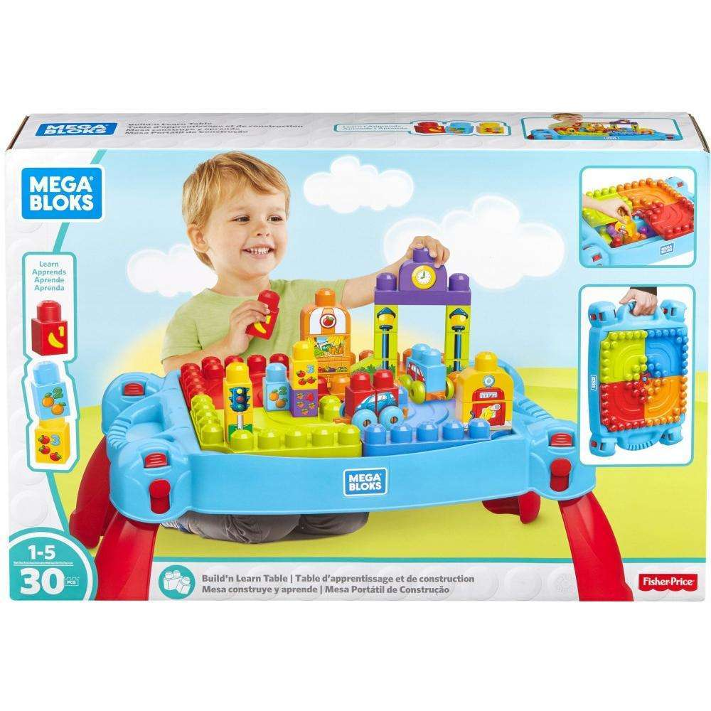 Mega Bloks Big Builders Build 'N Learn Table 30-Piece Block Set by Mattel